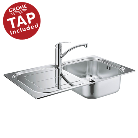 Grohe Eurosmart Stainless Steel Kitchen Sink & Tap Bundle - 31565SD0