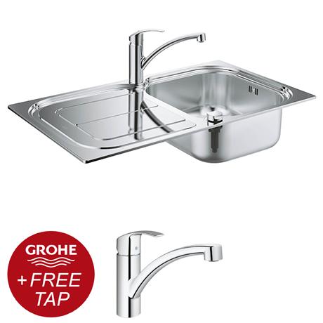 Grohe Eurosmart Stainless Steel Kitchen Sink & Tap Bundle - 31565SD0