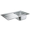Grohe K400+ 1.0 Bowl Stainless Steel Kitchen Sink - 31568SD0 profile small image view 1