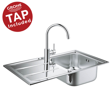 Grohe Concetto Stainless Steel Kitchen Sink & Tap Bundle - 31570SD0