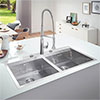 Grohe K800 2.0 Bowl Stainless Steel Kitchen Sink - 31585SD0 profile small image view 1