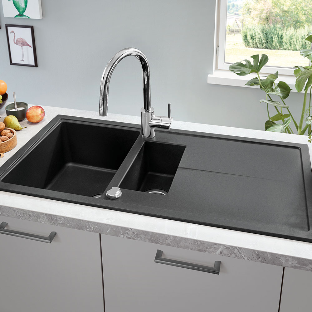 Black Kitchen Sinks: Grohe K400 1.5 Bowl Composite Kitchen Sink With Drainer