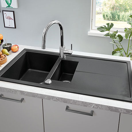 Grohe K400 1.5 Bowl Composite Kitchen Sink with Drainer - Granite Black - 31642AP0