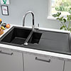 Grohe K400 1.5 Bowl Composite Quartz Kitchen Sink with Drainer - Black - 31642AP0 profile small image view 1