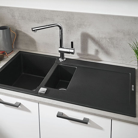 Grohe K500 1.5 Bowl Composite Kitchen Sink with Drainer - Granite Black - 31646AP0