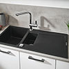 Grohe K500 1.5 Bowl Composite Kitchen Sink with Drainer - Granite Black - 31646AP0 profile small image view 1