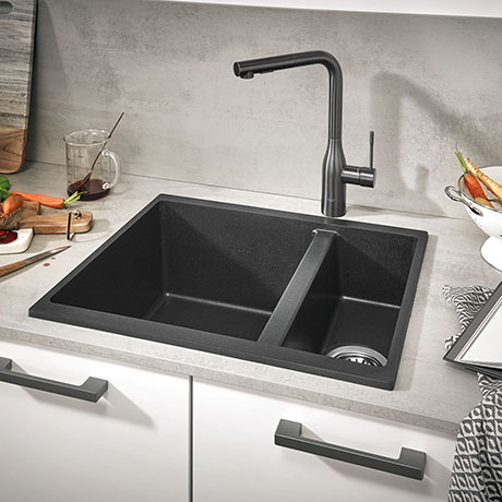 Grohe K500 1.5 Bowl Composite Kitchen Sink - Granite Black - 31648AP0