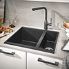 Grohe K500 1.5 Bowl Composite Quartz Kitchen Sink - Black - 31648AP0 profile small image view 1