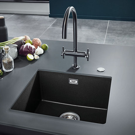 Grohe K700 1.0 Bowl Undermount Composite Kitchen Sink - Granite Black - 31653AP0