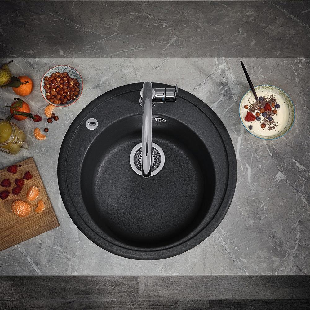 Grohe K200 1.0 Bowl Round Composite Quartz Kitchen Sink - Black - 31656AP0
