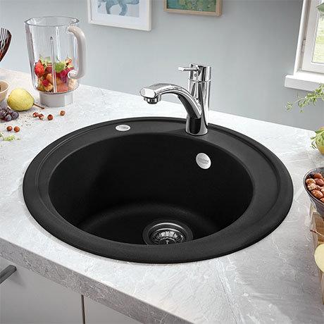 Grohe K200 Round Composite Kitchen Sink - Granite Black - 31656AP0