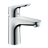 hansgrohe Focus Single Lever Basin Mixer 100 with 2 Flow Rates and Pop-up Waste - 31657000 profile small image view 1