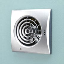 HIB Hush Wall Mounted Bathroom Fan with Timer & Humidity Sensor - Matt Silver - 31800