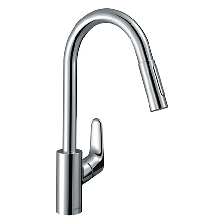 hansgrohe Focus M41 Single Lever Kitchen Mixer 240 with Pull Out Spray - Chrome - 31815000