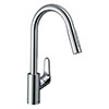 hansgrohe Focus M41 Single Lever Kitchen Mixer 240 with Pull Out Spray - Chrome - 31815000 profile small image view 1