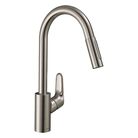 hansgrohe Focus M41 Single Lever Kitchen Mixer 240 with Pull Out Spray - Stainless Steel - 31815800