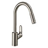 hansgrohe Focus M41 Single Lever Kitchen Mixer 240 with Pull Out Spray - Stainless Steel - 31815800 profile small image view 1
