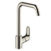 hansgrohe Focus M41 Single Lever Kitchen Mixer 260 - Stainless Steel - 31820800 profile small image view 1