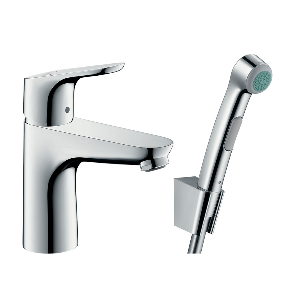 hansgrohe Focus Single Lever Basin Mixer 100 with Bidet Spray and 160cm Shower Hose - 31927000