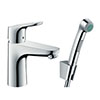 hansgrohe Focus Single Lever Basin Mixer 100 with Bidet Spray and 160cm Shower Hose - 31927000 profile small image view 1