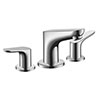 hansgrohe Focus 3-Hole Basin Mixer 100 with Pop-up Waste - 31937000 profile small image view 1