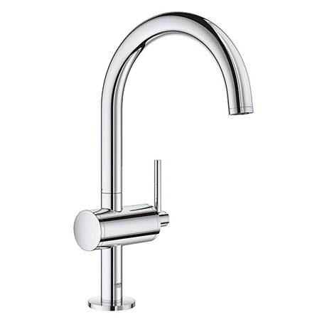 Grohe Atrio Single Lever L-Size Mono Basin Mixer with Click Clack Waste - Chrome - 32042003