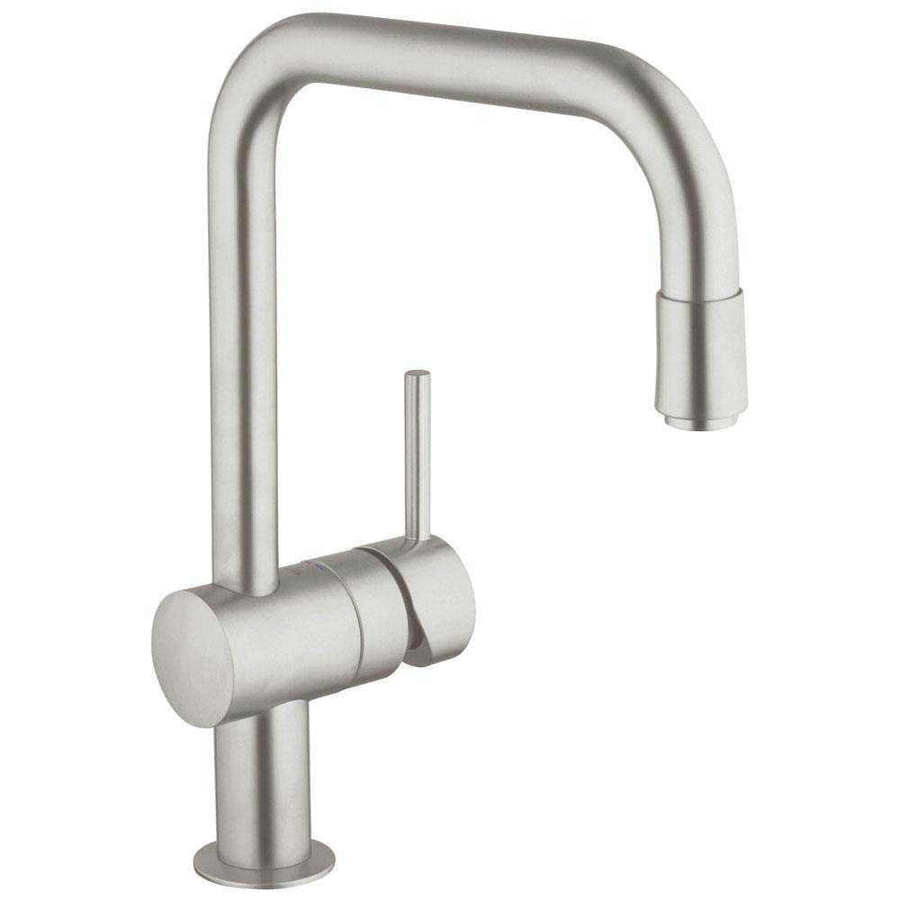 Grohe Minta Kitchen Sink Mixer with Pull Out Spray - SuperSteel - 32067DC0 profile large image view 1