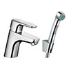 hansgrohe Ecos Single Lever Basin Mixer with Bidette Hand Shower - 32126000 profile small image view 1