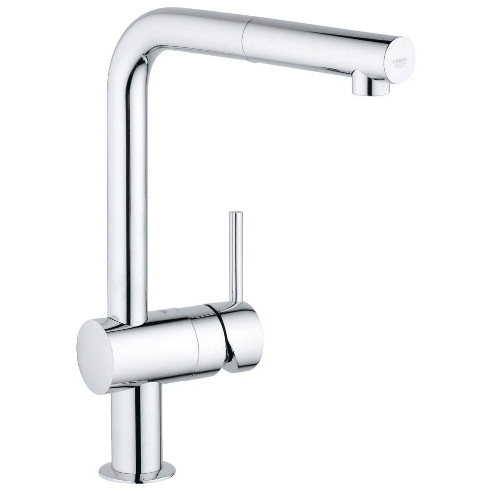 Grohe Minta Kitchen Sink Mixer with Pull Out Spray - Chrome - 32168000 Large Image