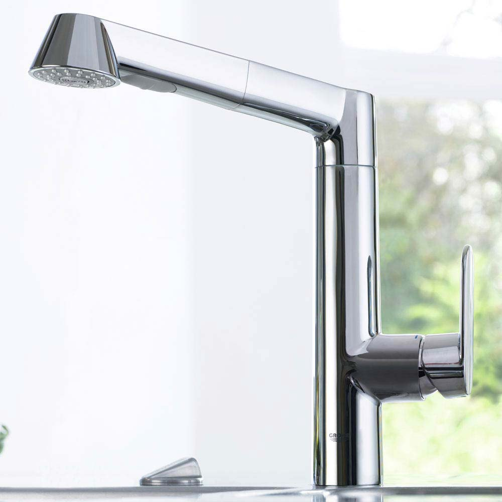Grohe K7 Kitchen Sink Mixer with Pull Out Spray - Chrome - 32176000 profile large image view 2