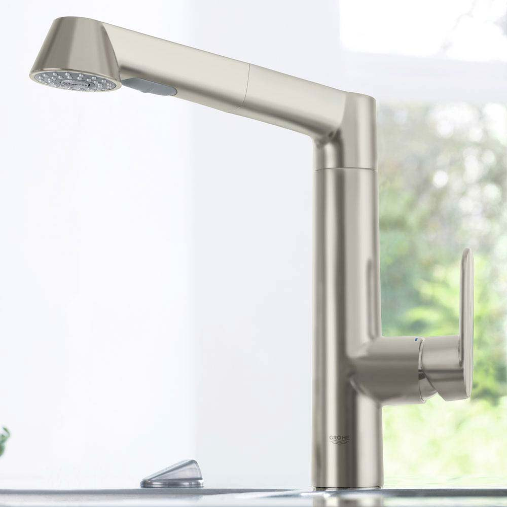 Grohe K7 Kitchen Sink Mixer with Pull Out Spray - SuperSteel - 32176DC0  Profile Large Image