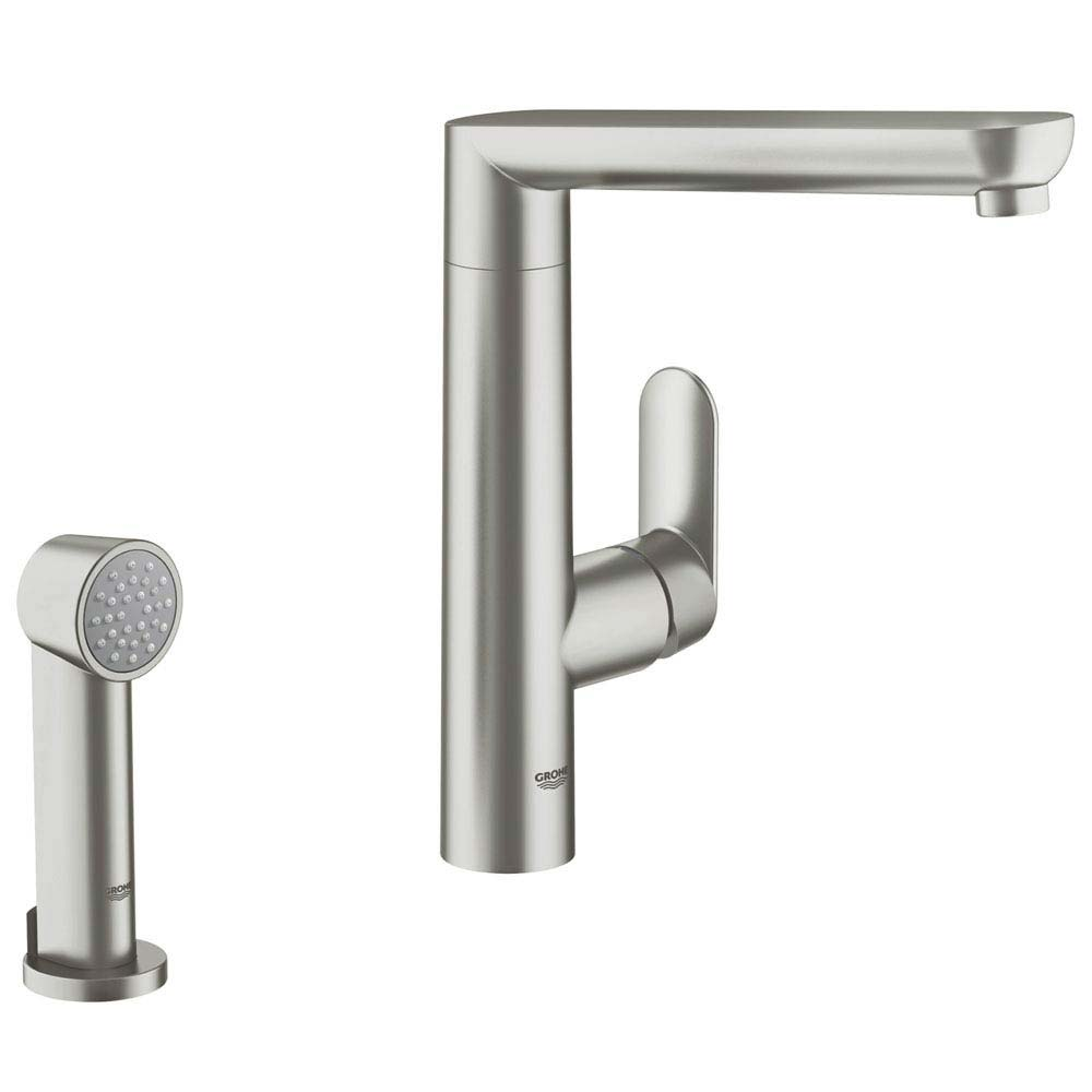 Grohe K7 Kitchen Sink Mixer with Side Spray - SuperSteel - 32179DC0 Large Image
