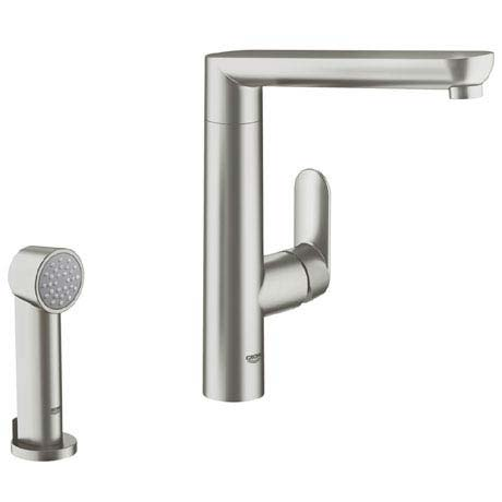 Grohe K7 Kitchen Sink Mixer with Side Spray - SuperSteel - 32179DC0