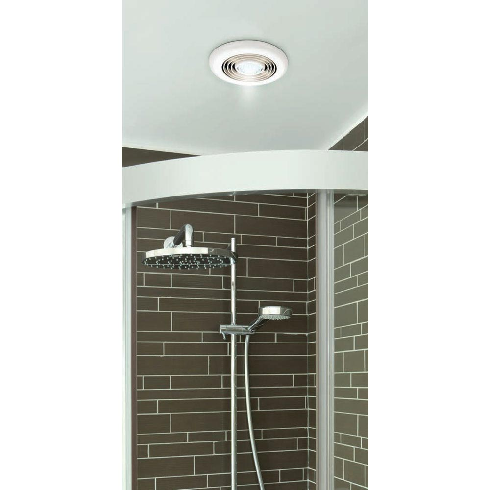 HIB Turbo Chrome Bathroom Inline Fan with LED Lights - Cool White - 32300 profile large image view 3