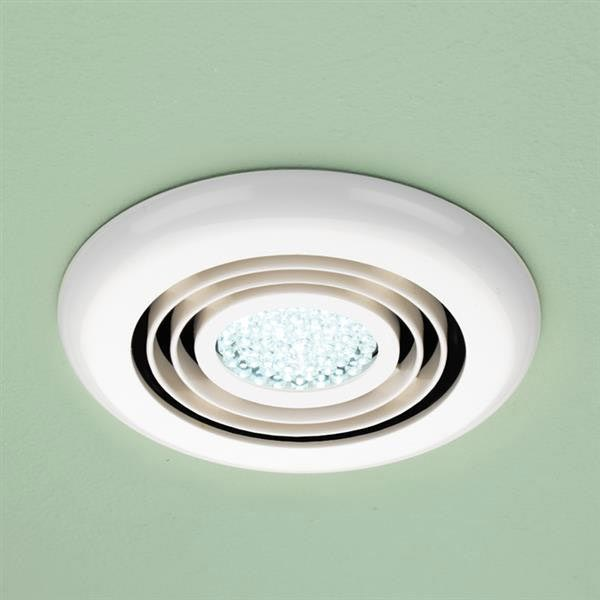 HIB Turbo White Bathroom Inline Fan with LED Lights - Cool White - 32200 Large Image
