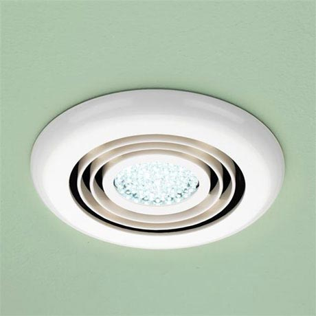 HIB Turbo White Bathroom Inline Fan with LED Lights - Cool White - 32200