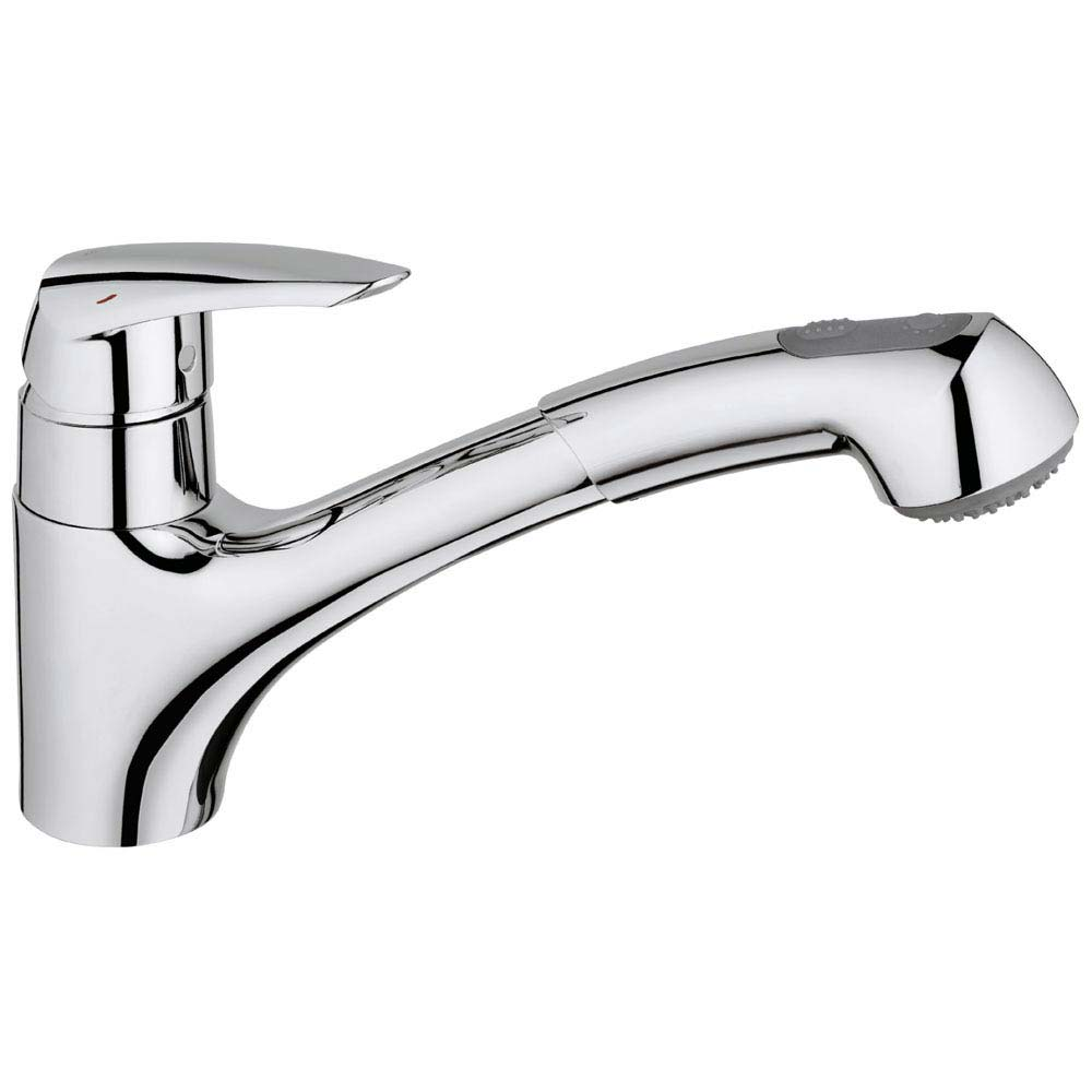 Grohe Eurodisc Kitchen Sink Mixer with Pull Out Spray - 32257001 profile large image view 1