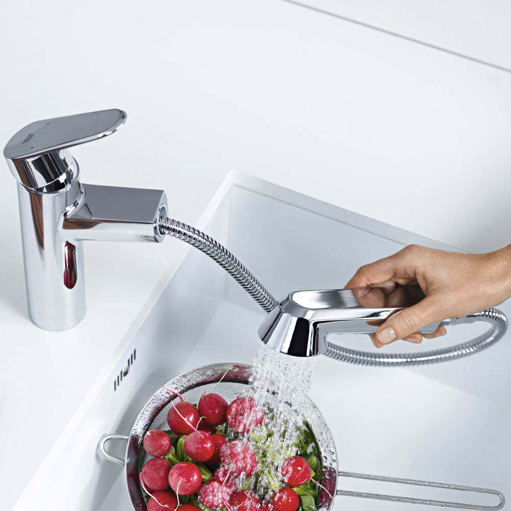 Grohe Eurodisc Cosmopolitan Kitchen Sink Mixer with Pull Out Spray - 32257002  Feature Large Image