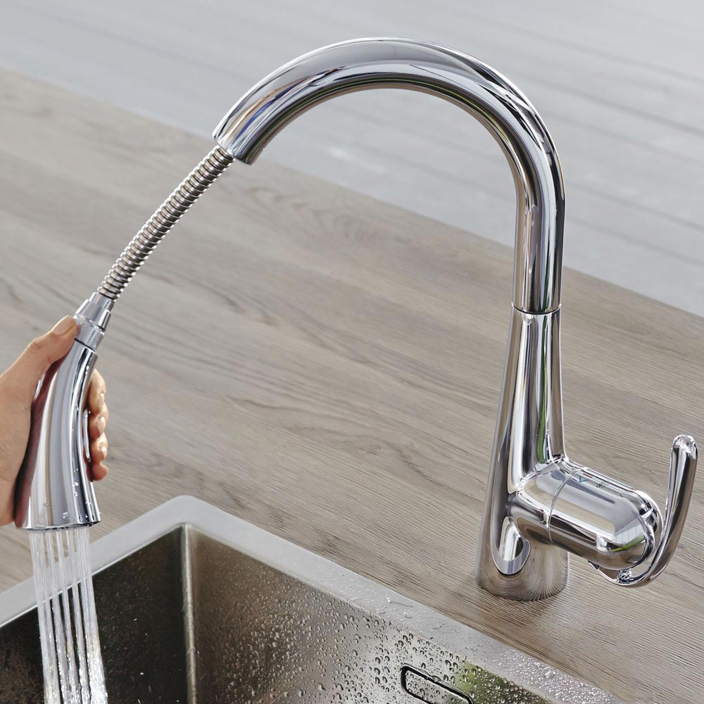 Grohe Zedra Kitchen Sink Mixer with Pull Out Spray - Chrome - 32294001 profile large image view 5