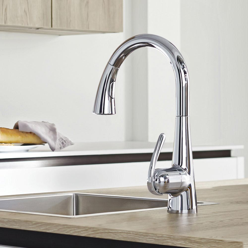 Grohe Zedra Kitchen Sink Mixer with Pull Out Spray - Chrome - 32294001 profile large image view 7