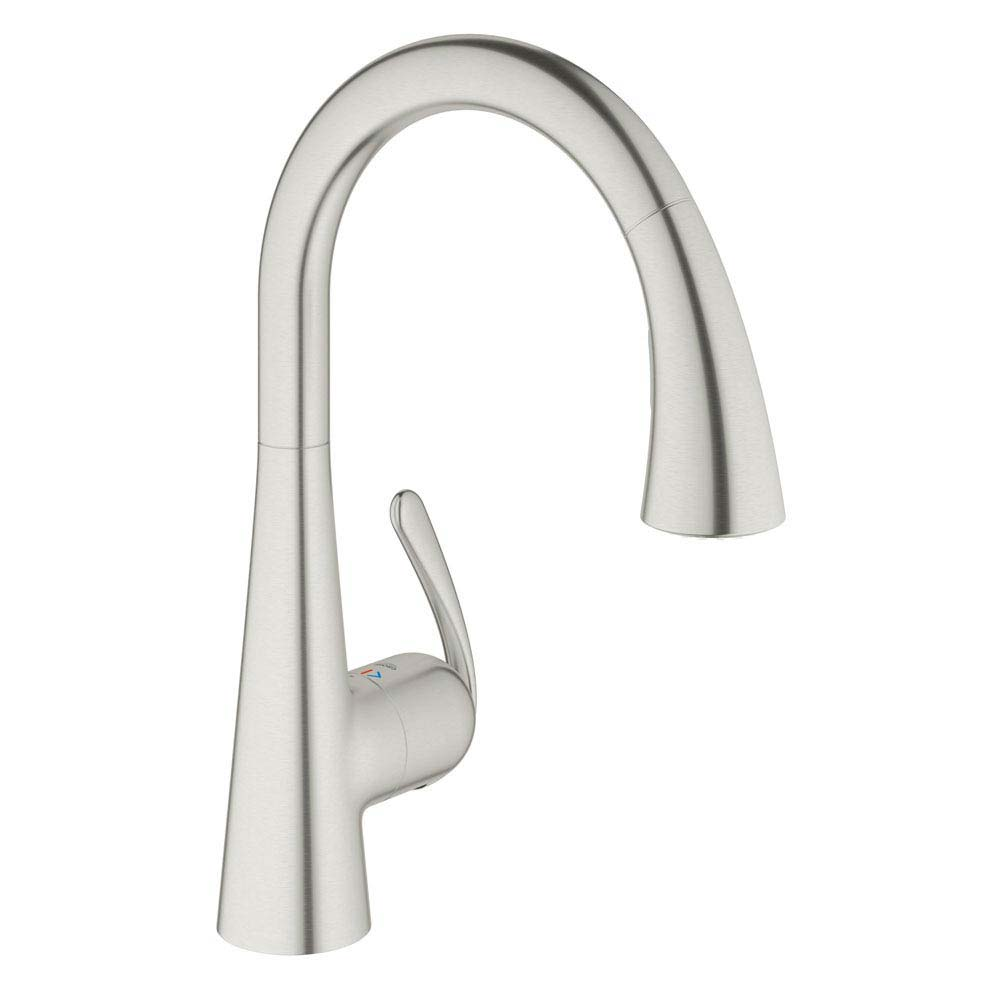 Grohe Zedra Kitchen Sink Mixer with Pull Out Spray - Stainless Steel - 32294SD1 profile large image view 1