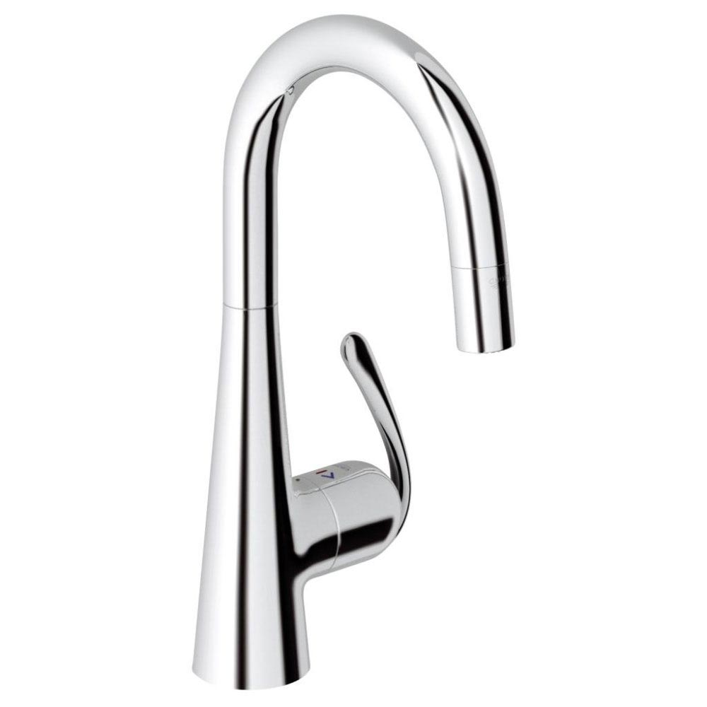 GROHE Zedra Kitchen Sink Mixer with Pull Down Mousseur Spray - Chrome - 32296000