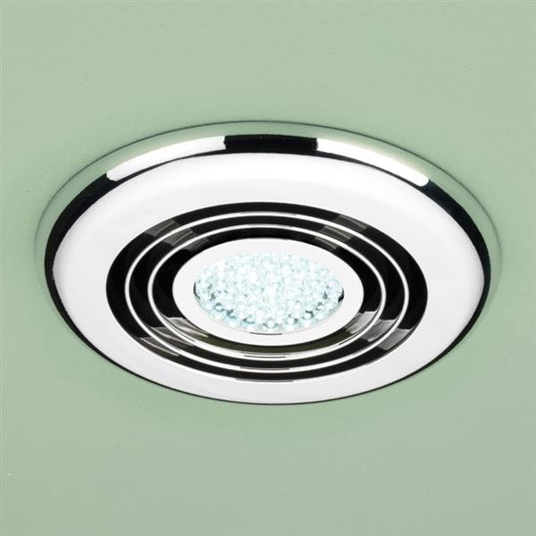 HIB Turbo Chrome Bathroom Inline Fan with LED Lights - Cool White - 32300 profile large image view 1