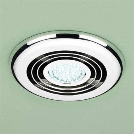 HIB Turbo Chrome Bathroom Inline Fan with LED Lights - Cool White - 32300