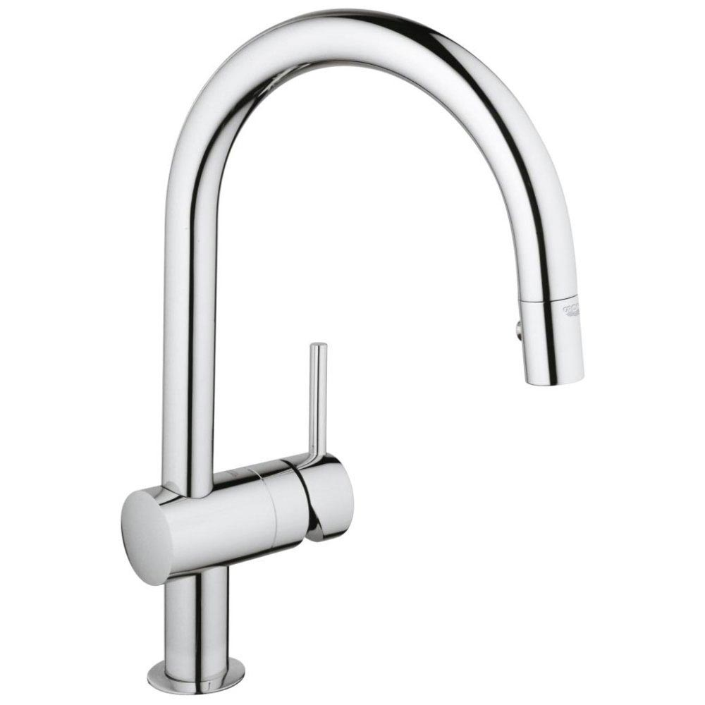 Grohe Minta Kitchen Sink Mixer with Pull Out Spray - Chrome - 32321000 Large Image