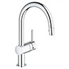 Grohe Minta Kitchen Sink Mixer with Pull Out Spray - Chrome - 32321002 profile small image view 1