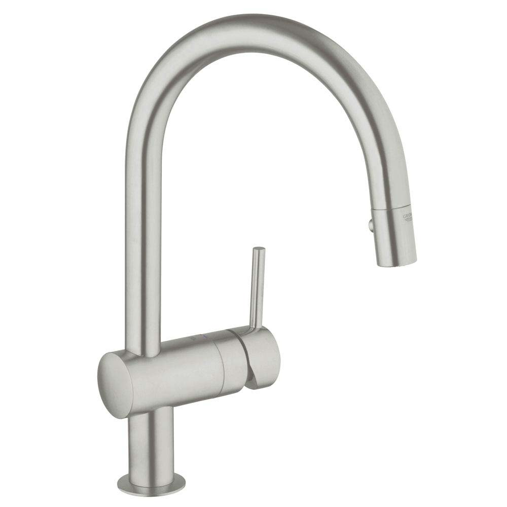 Grohe Minta Kitchen Sink Mixer with Pull Out Spray - SuperSteel - 32321DC0 Large Image
