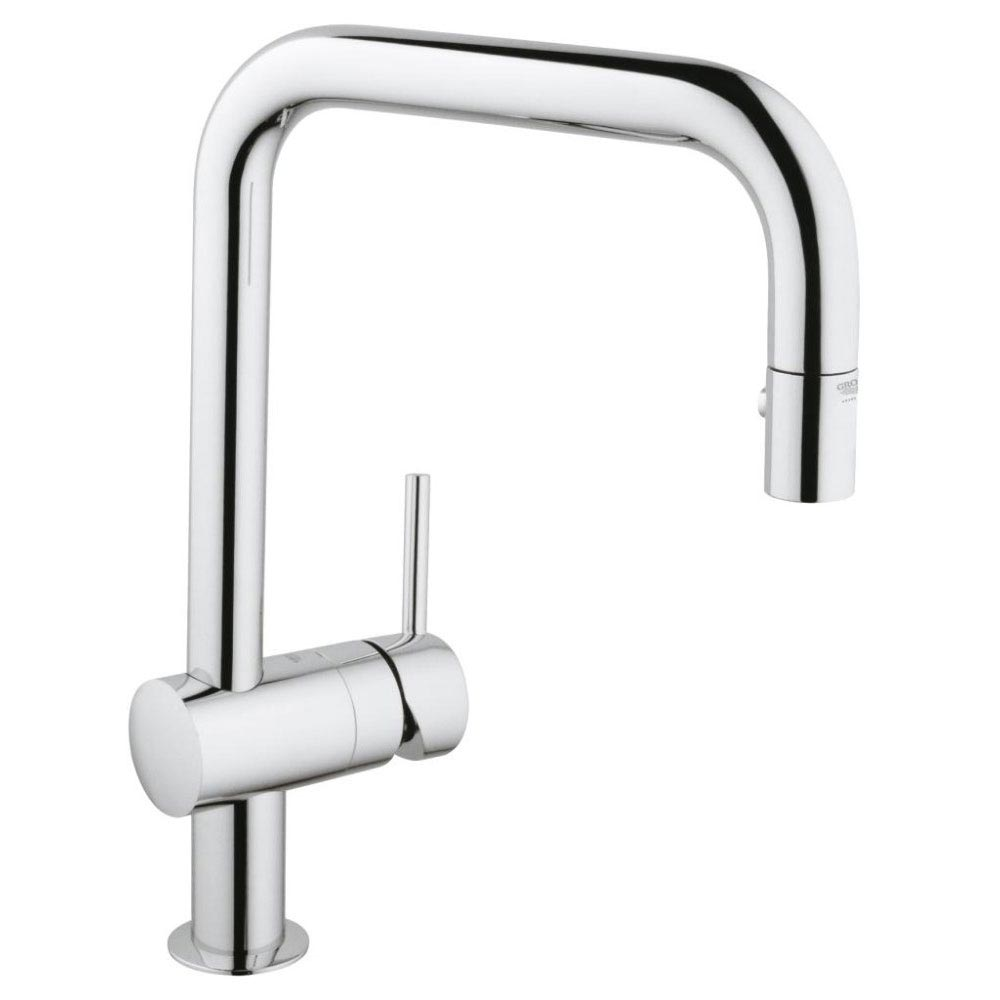 Grohe Minta Kitchen Sink Mixer with Pull Out Spray - Chrome - 32322000 Large Image