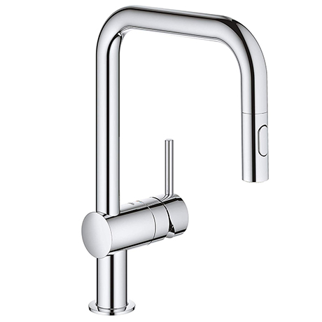 Grohe Minta Single-Lever Kitchen Sink Mixer Tap with Pull Out Spray - 32322002