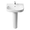 Roca Debba 550mm 1TH Basin with Full Pedestal profile small image view 1